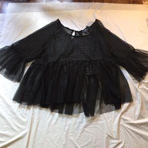 Torrid Black Sheer Tulle Baby Doll Shirt NWOT